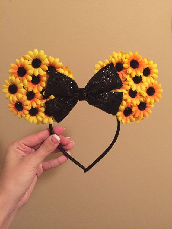 Hey, I found this really awesome Etsy listing at https://www.etsy.com/listing/262645380/sunflower-mickey-ears-headband
