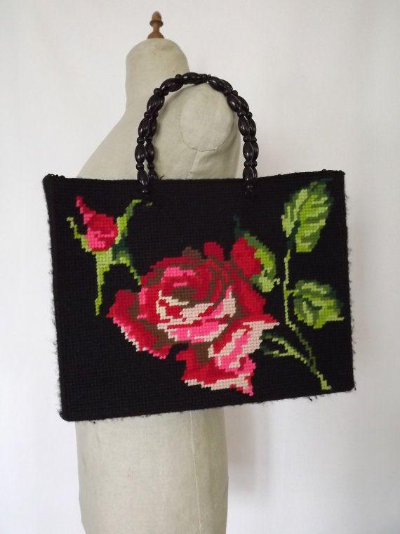 Vintage cross stitched purse