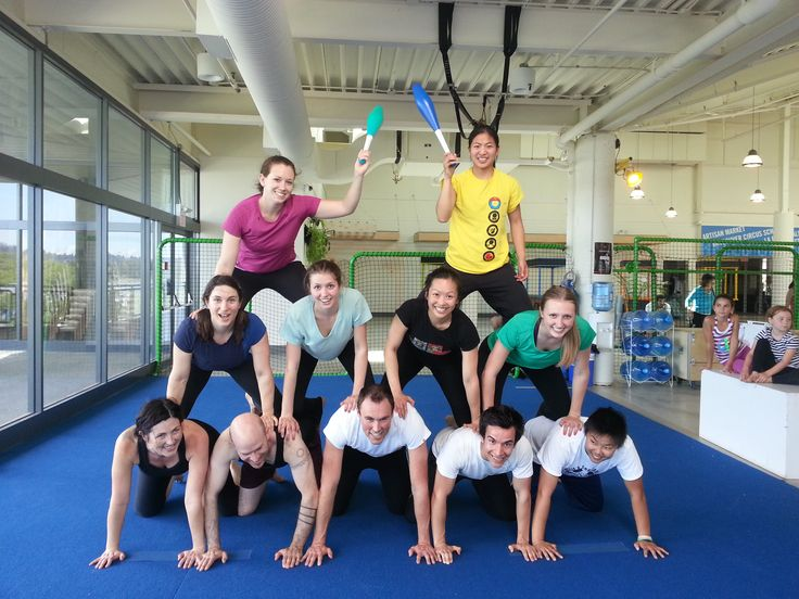 Try this: Human pyramids 101.  On squishy flooring, of course.