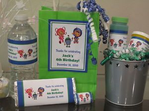 Team Umizoomi Boy Birthday Favors Water Candy Wrappers