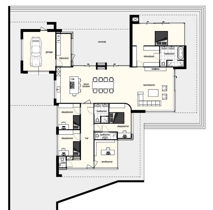plattegrond moderne bungalow - Google zoeken