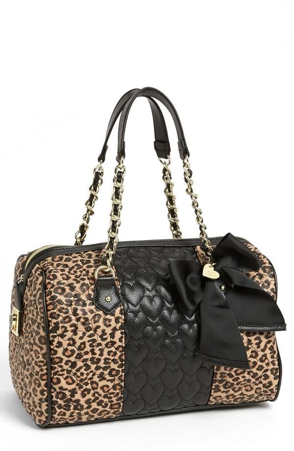Leopard Print Quilted Heart Bow Purse - betsey johnson