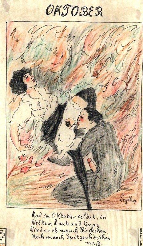"""Et en Octobre même, dans les feuilles mortes et l'herbe sèche (litt. """"dans le feuillage et l'herbe flétris"""") on verra encore mouiller bien des jupettes et bien des petites culottes de dentelle."""