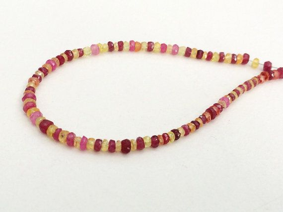 Ruby And Yellow Sapphire Faceted Rondelle Beads by gemsforjewels