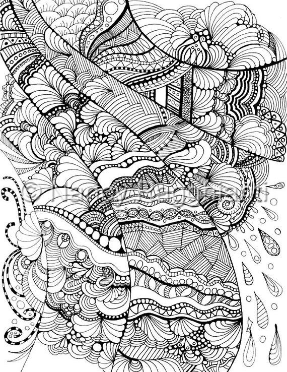Printable Coloring Page Digital Download Full Page Freeform Etsy In 2020 Abstract Coloring Pages Zentangle Drawings Coloring Pages