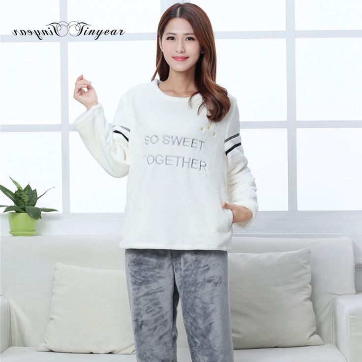 New women pyjamas winter polyester big size ladies pyjama sets round neck full sleeve night suit with letter design #Affiliate