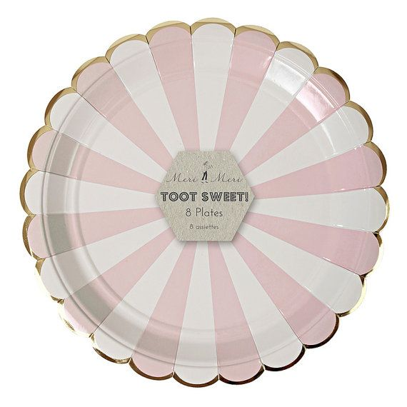 These stylish party plates feature pastel pink stripes, a shiny gold border, and a scalloped edge. These plates would be a great addition to