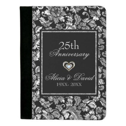 Metallic Silver Floral Damask- 25th Anniversary Padfolio - floral gifts flower flowers gift ideas