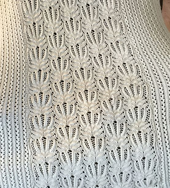 Free Knitting Pattern for Frost Flower Lace Afghan - This exquisite lace blanket is knit in 3 panels and seamed. One of 4 knitting patterns in Cozy Knitted Blanket Patterns ebook by Interweave Knits. 3 Sizes: 48″ × 60″ (56″ × 70″, 64″ × 80″) (122 × 152.5 (142 × 178, 162.5 × 203) cm) Pictured project by smokinnw
