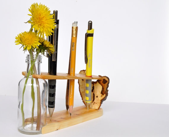 Pencil holder with a vase for spring flowers  juniper by Morgod, $36.00