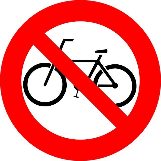 Oznaczenie informuje o zakazie wstępu lub / i poruszania się na rowerze w pojeździe przystosowanego do transportu zbiorowego. Naklejki powinny być...