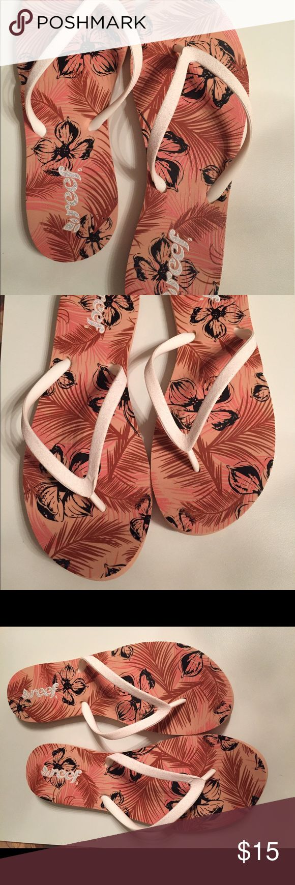 Reef Flip Flops White with flower print. Worn once and the toe a little turned up on right foot from storage. Reef Shoes Sandals