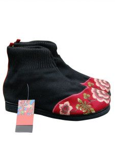Black 1 1/5'' Heel Cotton-Flax Embroidered Shoes