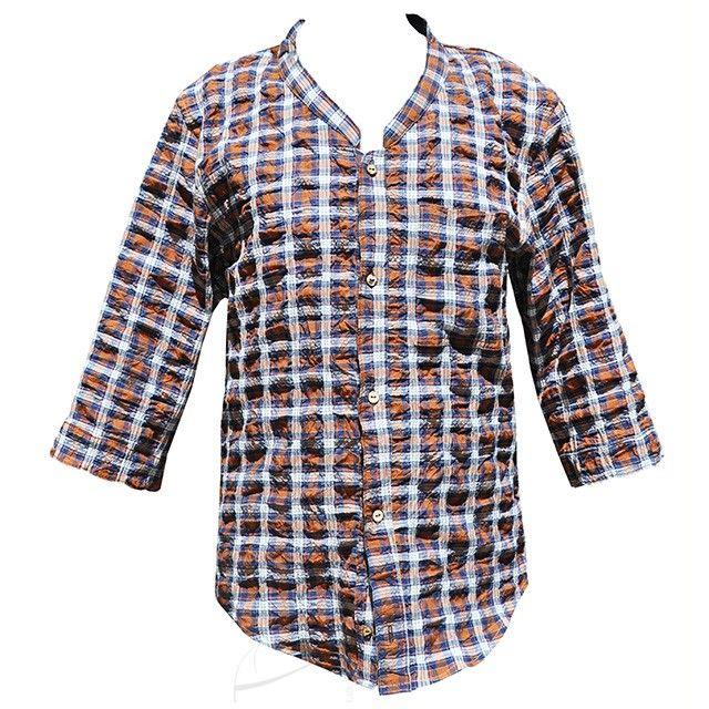 Koszula w kratke z rękawem 3/4. Mozliwość zamówienia w dowolnym rozmiarze i fasonie w butiku Łatka fashion.