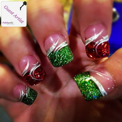 This is french tips to the maximum! The green and red glitter looks fabulous and we love the special silver ribbon making it look so professional.