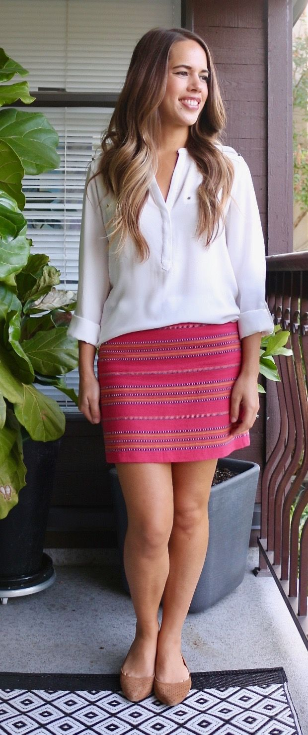 Jules in Flats - White Blouse and Striped Mini Skirt