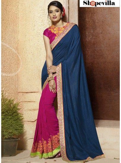 Blue & Hot Pink Colour Designer Contemporary Saree-313
