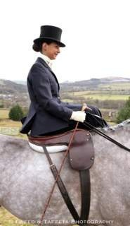 Amy-Jane Bryan and her I.D. 'Lad'. Everyday Elegance Side Saddle Habit