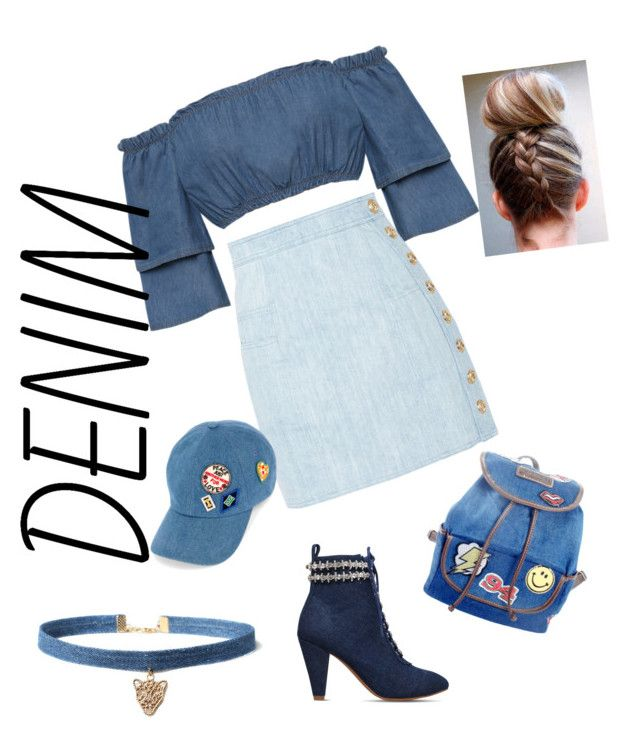 """""""DENIMY"""" by surabikiki ❤ liked on Polyvore featuring WearAll, Balmain, Tommy Hilfiger, WithChic, KG Kurt Geiger and UNIONBAY"""