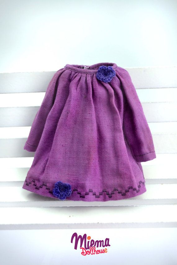 1 Vintage style linen DRESS for Blythe by Miema Dollhouse