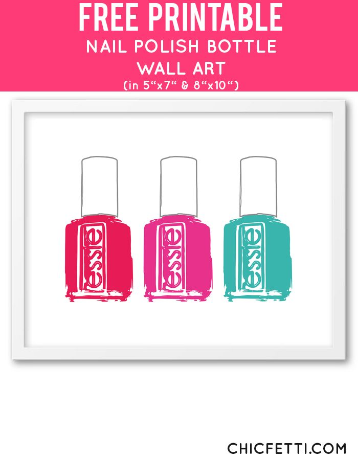 Free Printable Essie Bottle Art from @chicfetti - easy wall art diy Cute for girls bathroom