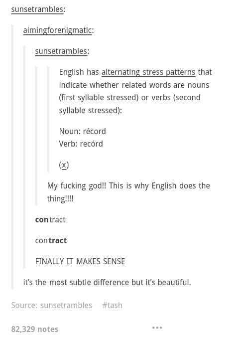 When they discovered how English does the thing.