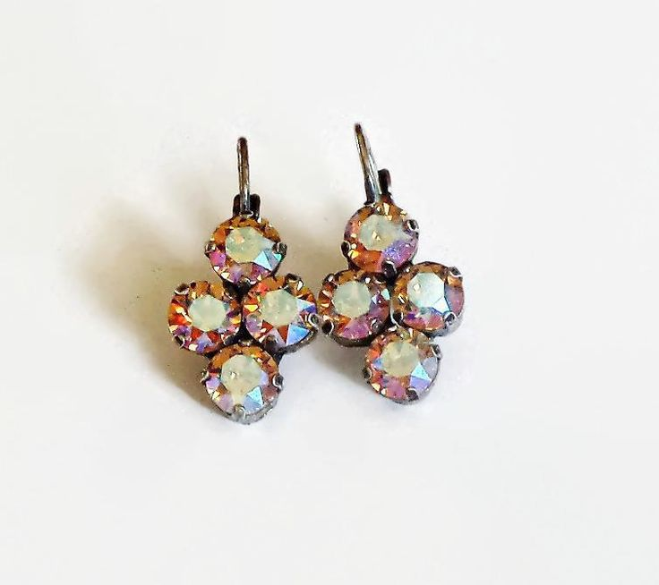 Swarovski crystal 6mm four-stone leverback fancy stone earrings colorado topazAB