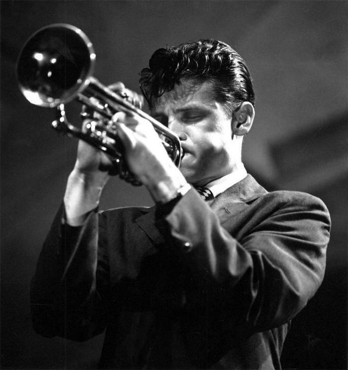 Chet Baker, at the Newport Jazz Festival,in a1955 photo byHerman Leonard viahoundeye