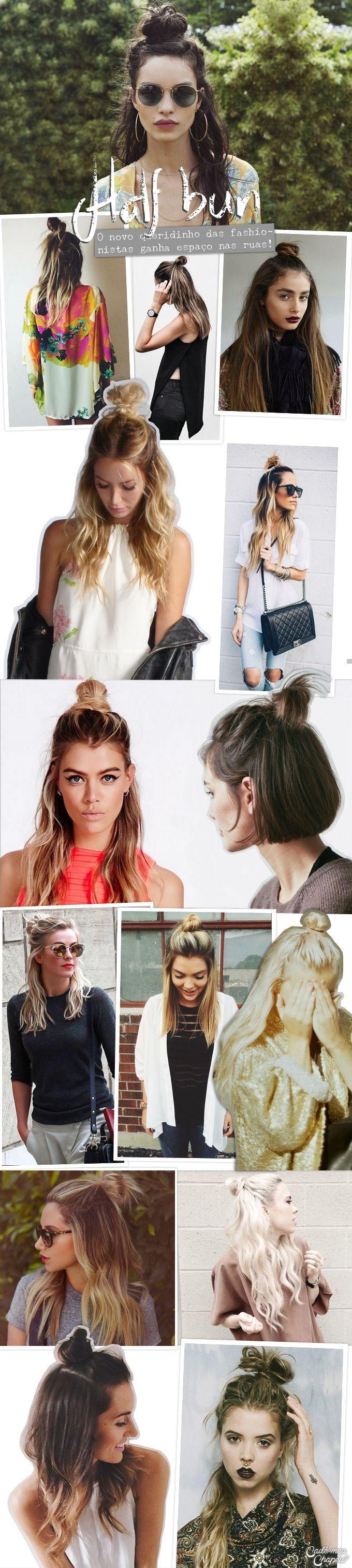 Penteado | Hairdo | Half Bun | Half Up Top Knot | http://cademeuchapeu.com