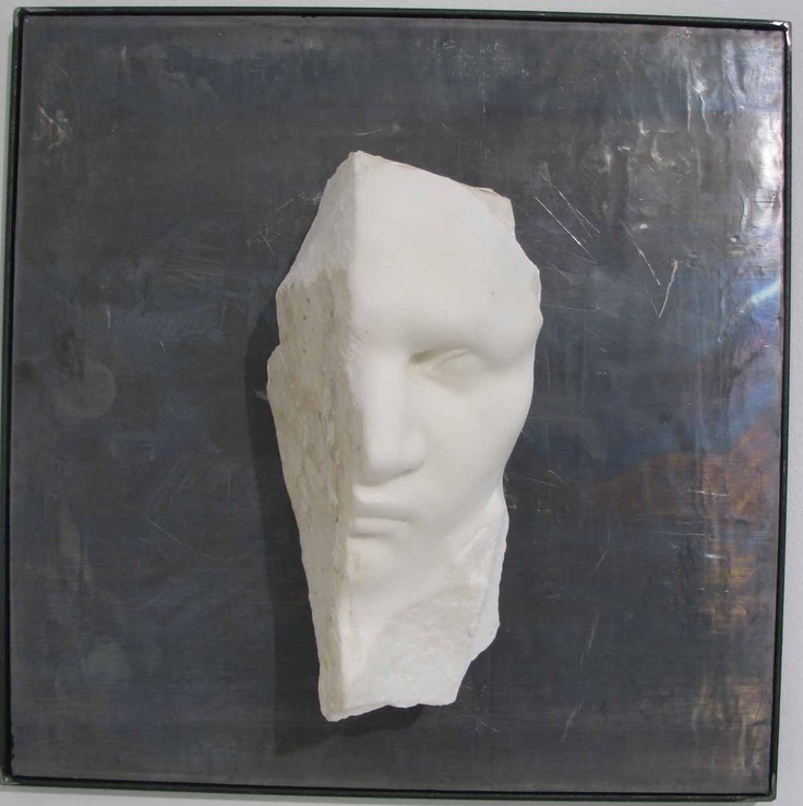 Michelangelo Galliani Sotto La Tua Pelle II Carrara statuary marble & lead 40 x 40 x 15 cm available at 3A The Excellence of Art