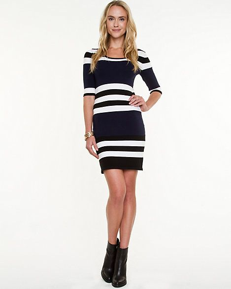 Le Château: Stripe Knit Sweater Dress