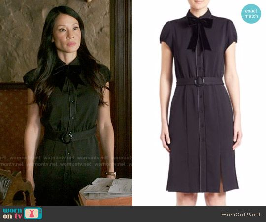 Joan's black belted shirtdress on Elementary.  Outfit Details: https://wornontv.net/62706/ #Elementary