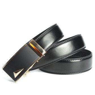 Men Second Floor Cowhide Gold Alloy Adjustable Automatic Buckle Belt Length Randomly at Banggood