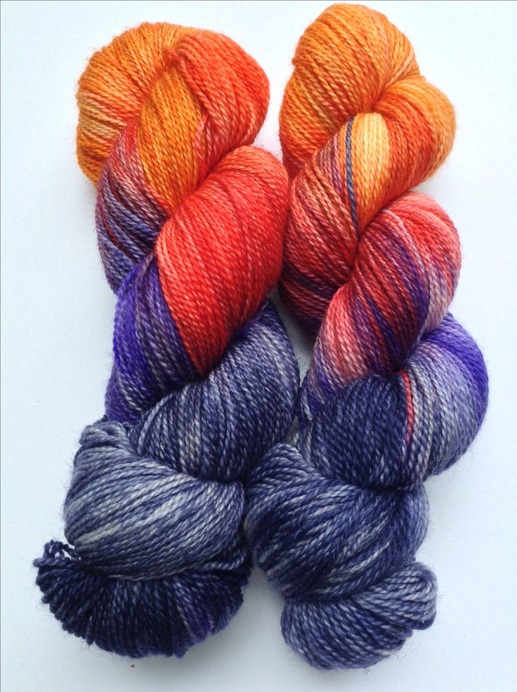 "100% Super-wash merino fingering weight in ""Sunset at the beach"" by Peppender Yarns."