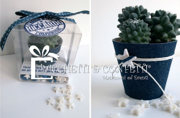 6+Bomboniera+con+pianta+grassa+in+vasetto+denim+per+comunione+bimbo.jpg (1600×1053)