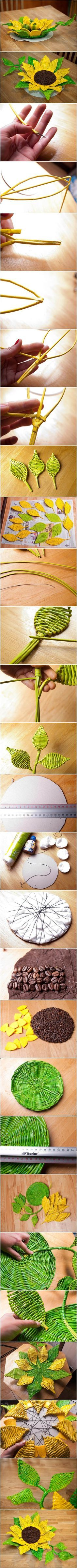 DIY Paper Woven Sunflower Tray | iCreativeIdeas.com Like Us on Facebook == https://www.facebook.com/icreativeideas