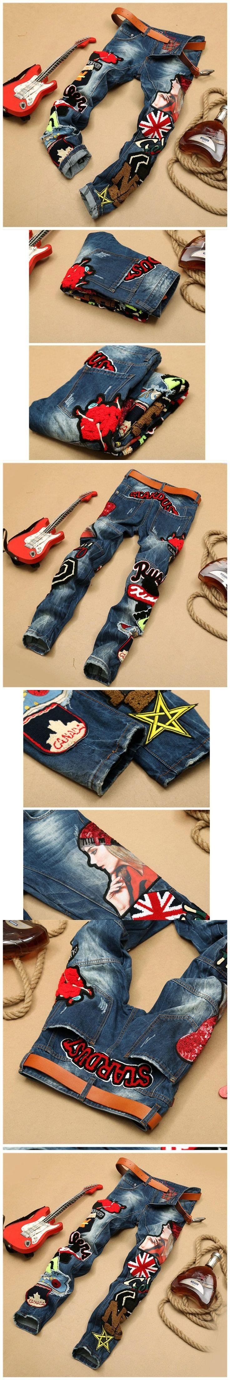 Hip Hop Embroidery Mens Jeans Trousers Men pantalon hombre Men's Jeans Straight Pants Men Jeans 2017 Denim Pants Trouser BP593