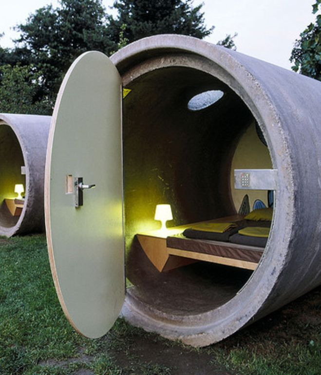 Das Park Hotel in Ottensheim, Austriahas made hotel rooms out of retired concrete drainage pipes. After receiving a coat of varnish, a s...