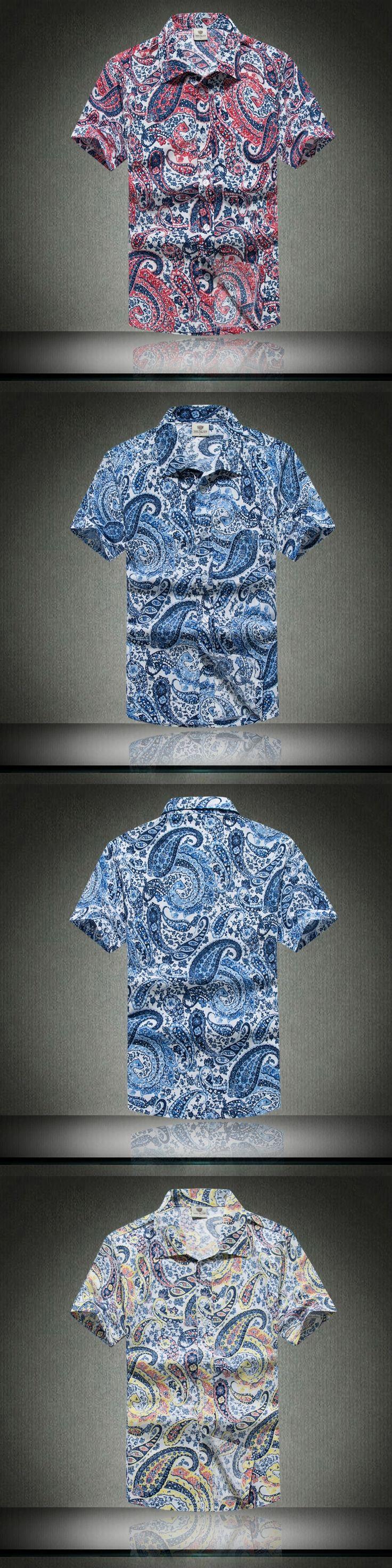 Mens Hawaiian Shirt Male Casual camisa masculina Printed Beach Shirts Short Sleeve 2016 New Free Shipping Asian SizeM-5XL