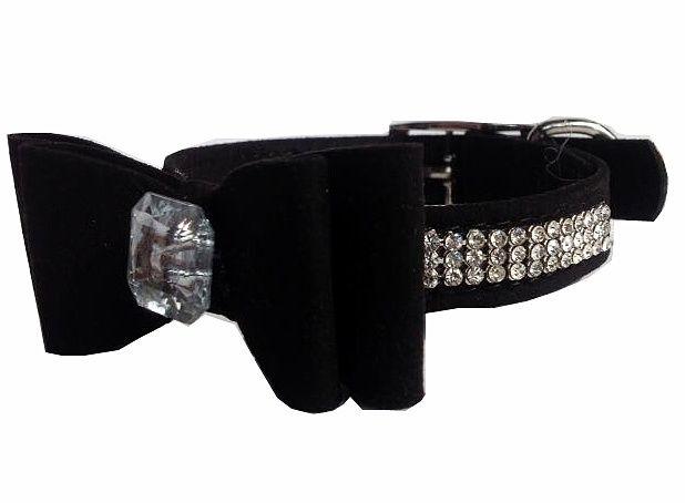 Halsband met strik | zwart | 25-30cm