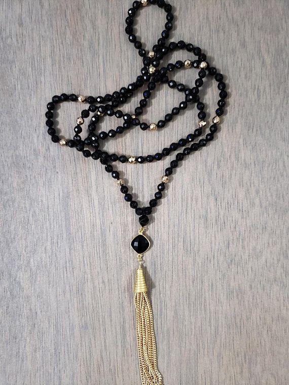 284946d20c0165 Double Wrap Black Tassel Necklace | Gold Tassel Necklace | Black Onyx &  Gold Hematite Long Necklace | Tassel Necklaces | Tassel necklace, Tassels,  ...