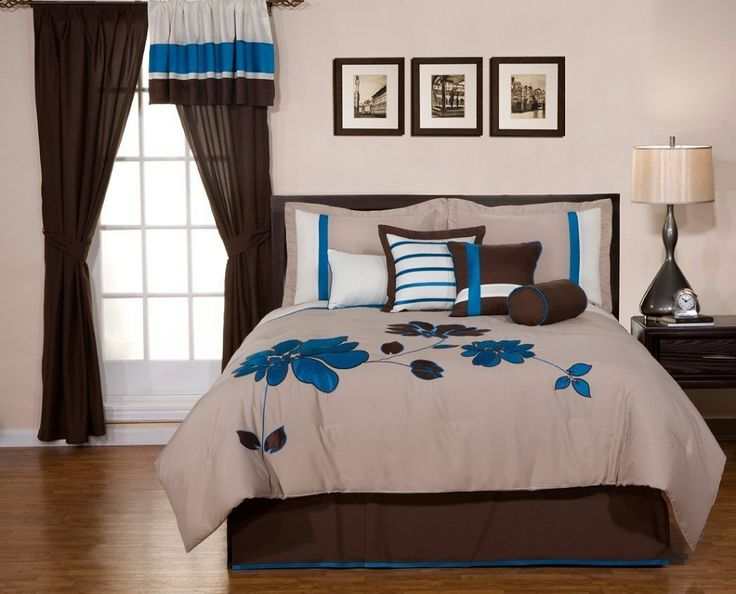 8 pieces oversize blue and brown flower set queen size bedding by selma
