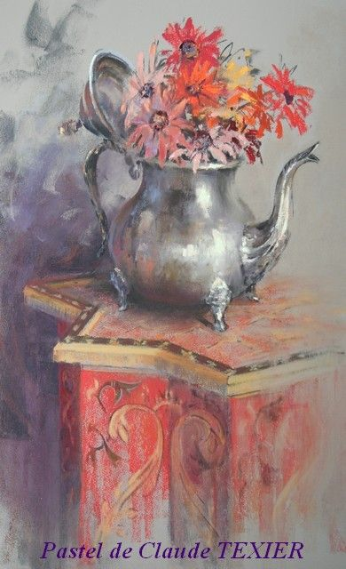 theiere fleurie -by French pastel artist Claude Texier