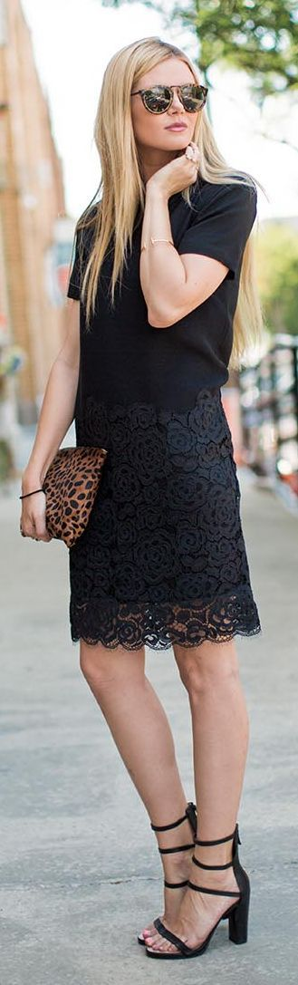 Dkny Black Lace Stand Collar Straight Midi Dress by Barefoot Blonde