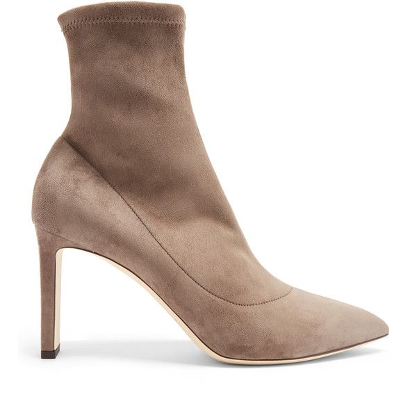 Jimmy Choo Louella suede sock ankle boots ($950) ❤ liked on Polyvore featuring shoes, boots, ankle booties, dark grey, pointed ankle booties, sock ankle boots, suede high heel boots, stretch suede boots and pointed booties