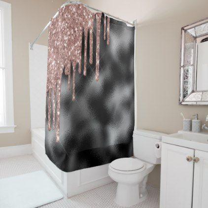 Rose Gold Corner Glitter Drips Foil Black Shower Curtain Zazzle