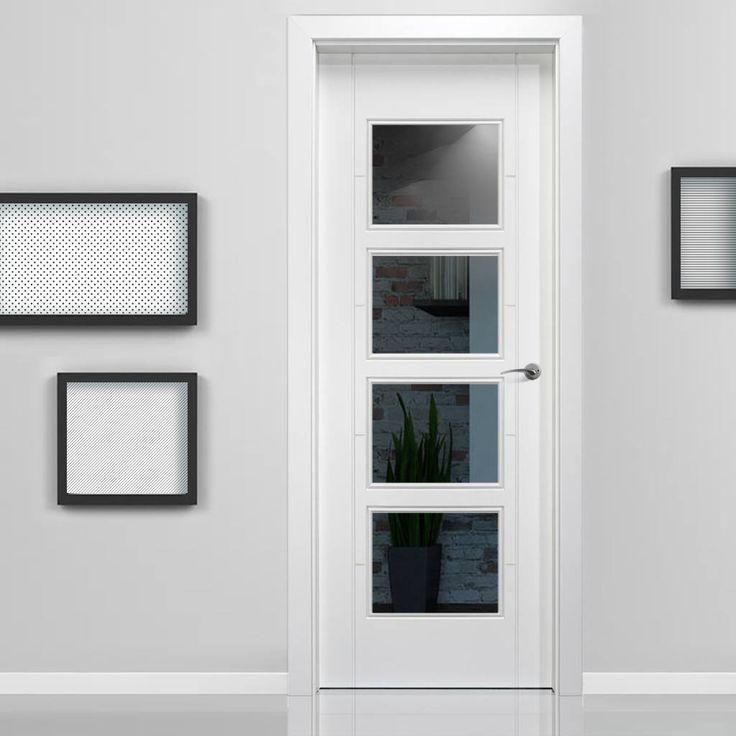 Vancouver White Composite Doorset - 110mm Broad Frame - Clear Glass. #whiteglassdoor #glazedinternaldoor #contemporarywhiteglazeddoor