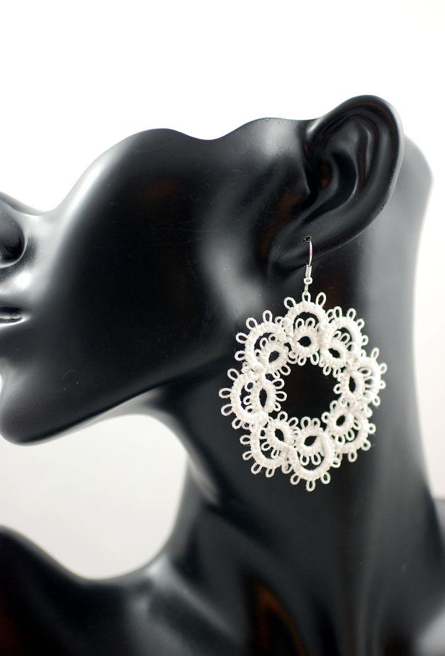 Kolczyki frywolitkowe czerwone - Positively-Crazy - Kolczyki wiszące #biżuteria#handmade#earrings#jewelry#art#koronka#beautiful#rękodzieło#ręcznie#robione#handicraft#buy#lace#kolczyki#frywolitka##wiszące#białe#white#tatting#occhi#Ohrringe#Schmuck#Kunsthandwerk#Weiß