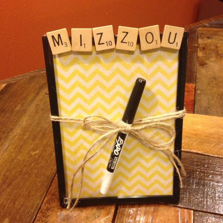 MIZZOU, Dry Erase Board, Message Board, Scrabble Decor, Chevron, Gift for College students, mizzou alumni, roommate gift, dorm  by CelebratingTheMoment on Etsy https://www.etsy.com/listing/194386492/mizzou-dry-erase-board-message-board
