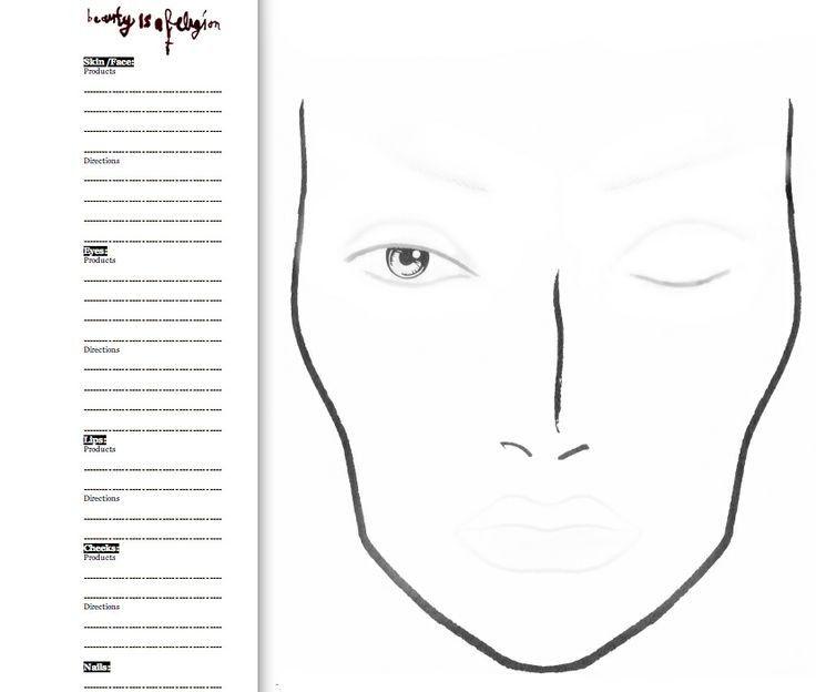 Printable Makeup Face Sketch Templates Nurul Amal